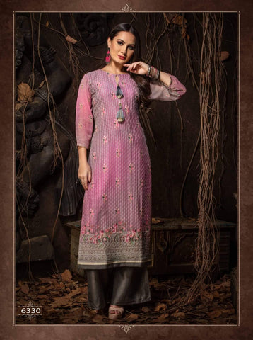 Mauve Heavy Embroidered Party Wear Kurta