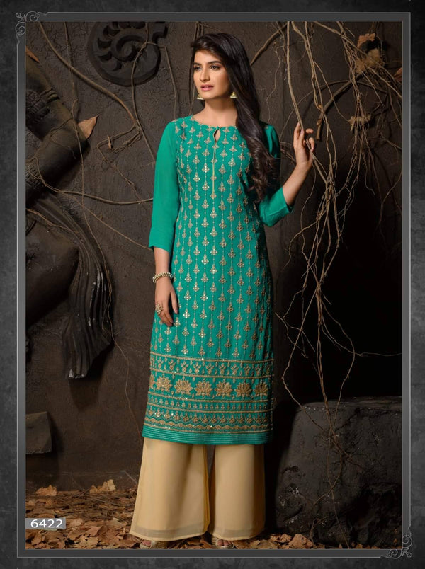 Turquoise Embroidered Party Wear Kurta