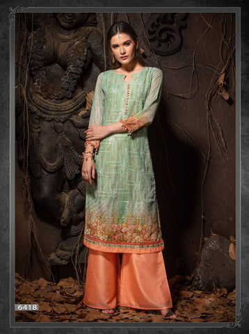 Light Sea Green &Peach Embroidered Party Wear Kurta