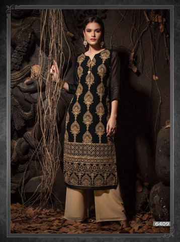Black Embroidered Party Wear Kurta