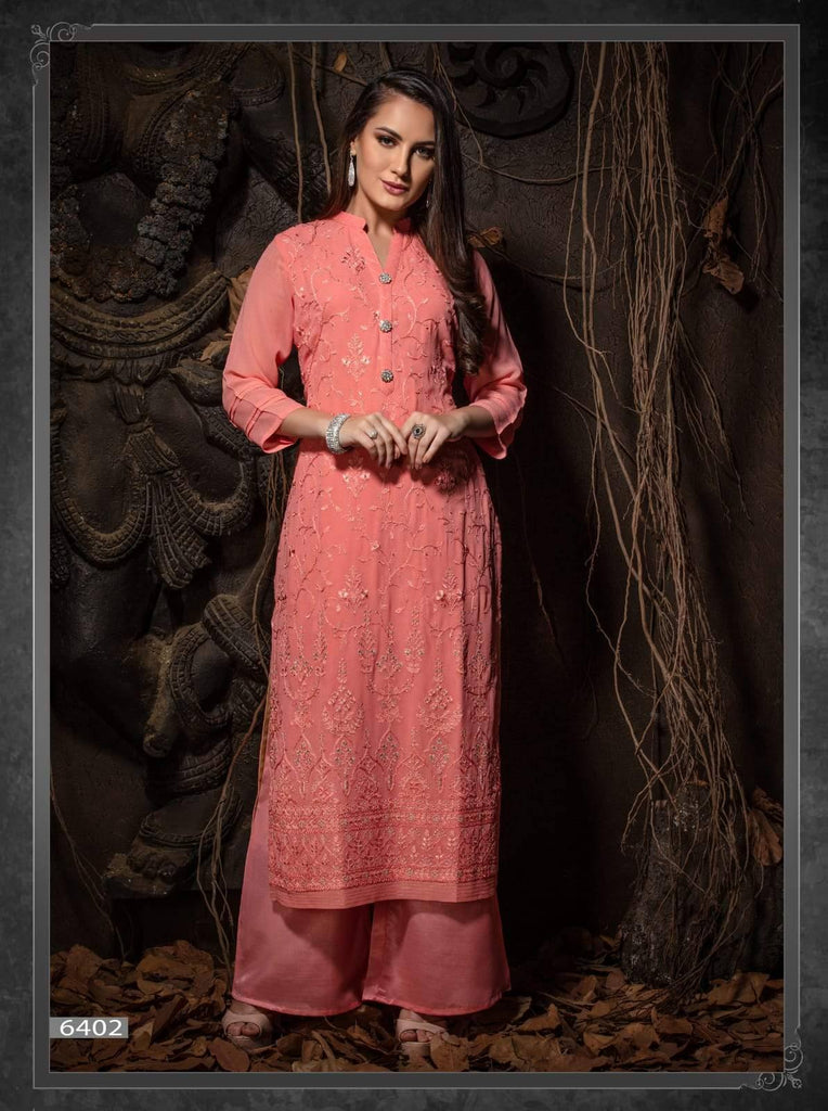 Pink Embroidered Party Wear Kurta