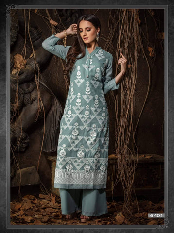 Grey Embroidered Party Wear Kurta