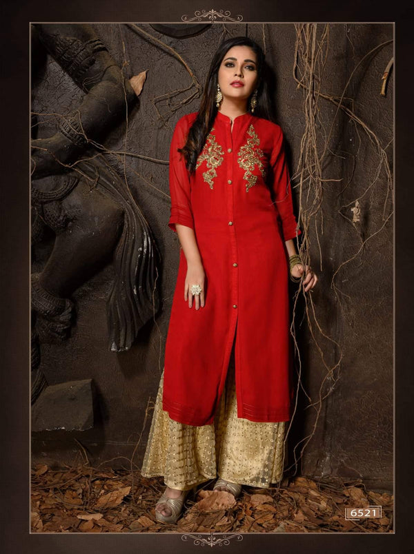 Red Embroidered Party Wear Kurta