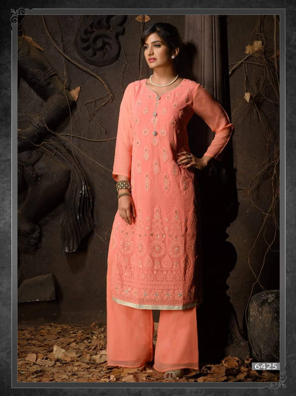 Salmon Pink Heavy Embroidered Party Wear Kurta