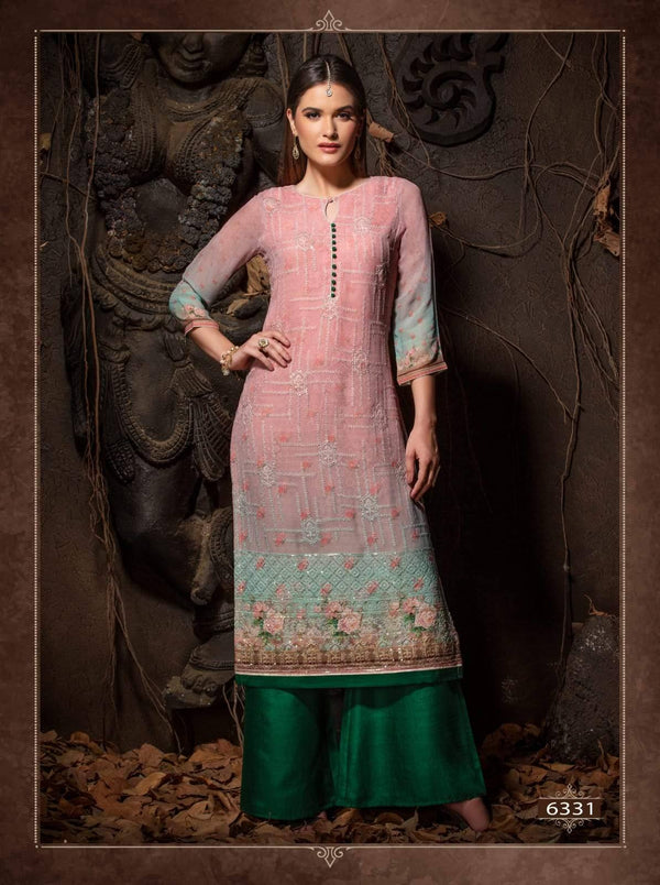 Multicolour Heavy Embroidered Party Wear Kurta