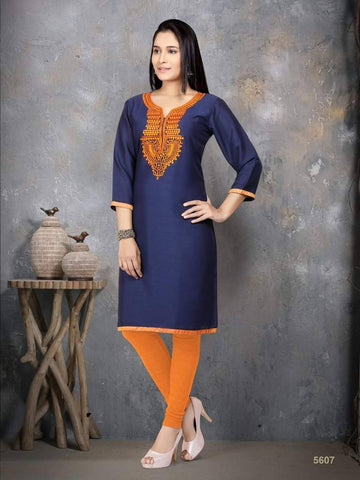 Navy Blue Cotton Silk Kurti