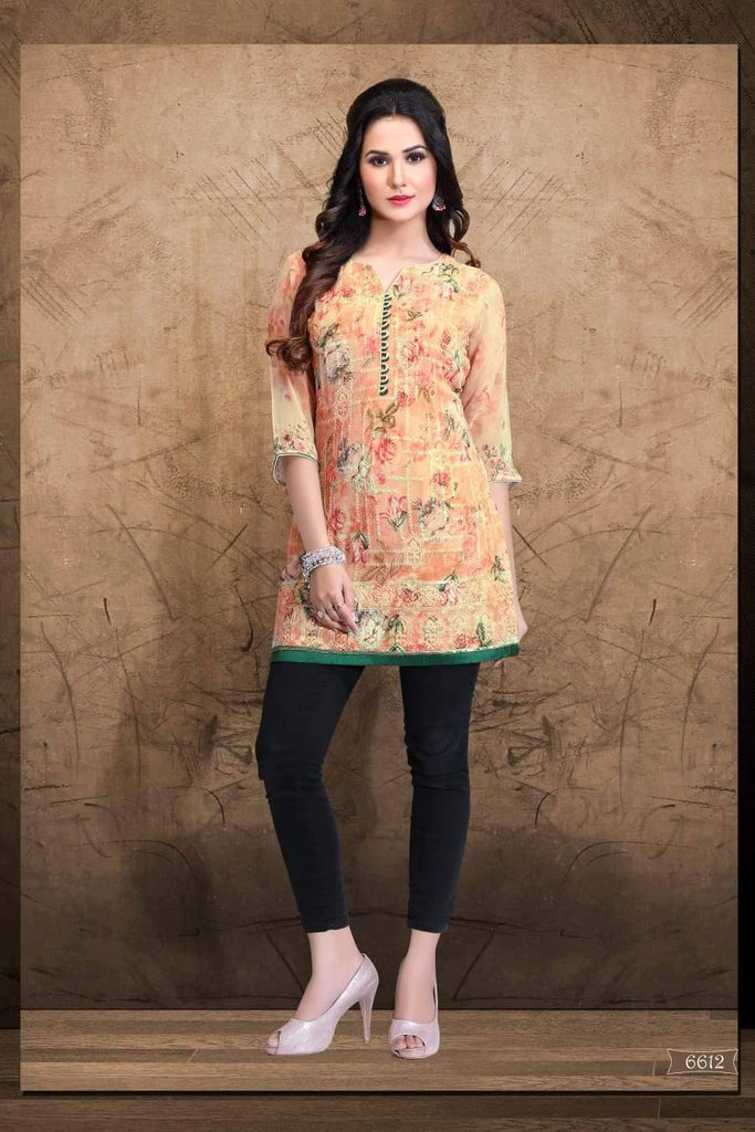 Multi Colour Embroidered Party Wear Short Kurti