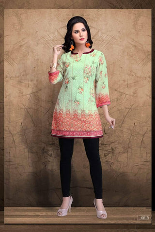 Light Green Embroidered Party Wear Short Kurti