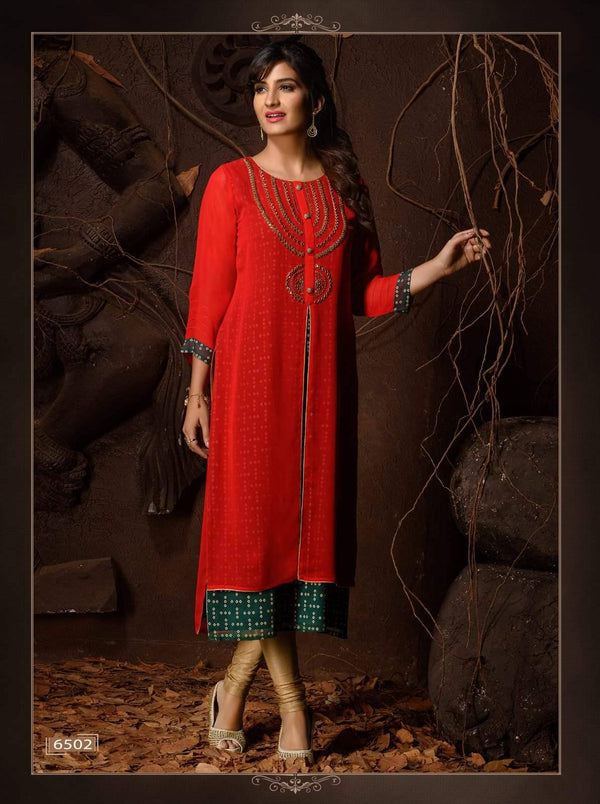 Red & Green Embroidered Party Wear Kurta