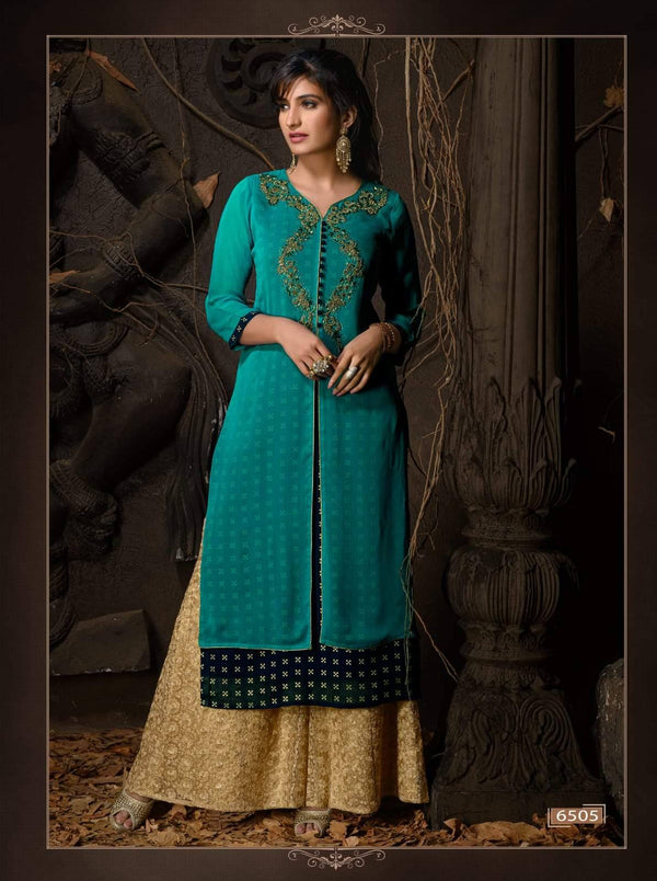 Blue Embroidered Party Wear Kurta