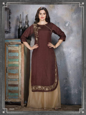 Brown Embroidered Party Wear Kurta