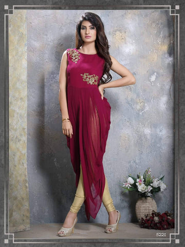 Wine Embroidered Party Wear Kurta