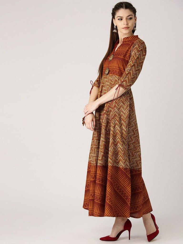 Readymade Gorgeous Brick Red Colour Cotton Long Kurti