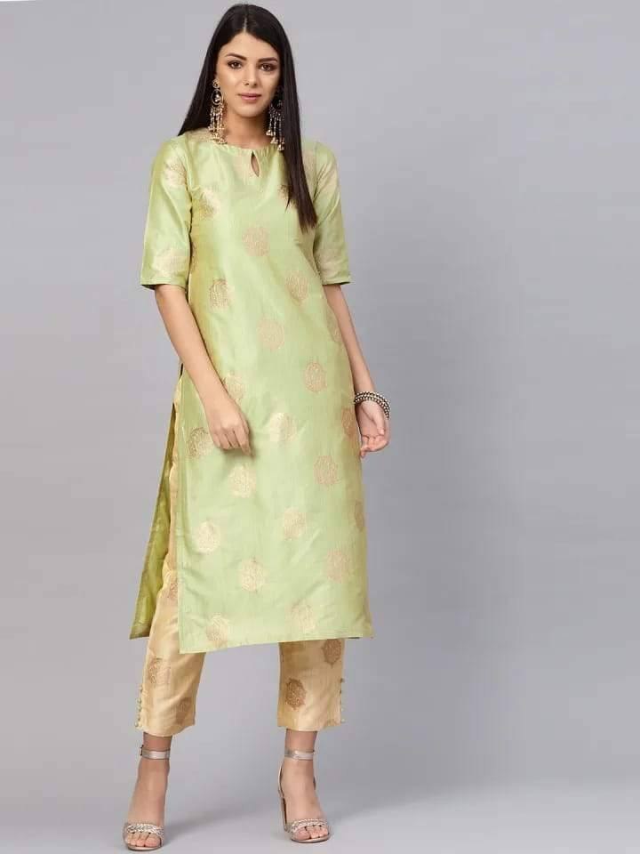 Readymade Attractive Foil Print Light Green Coloured Chanderi Palazzo Suit - www.riafashions.com