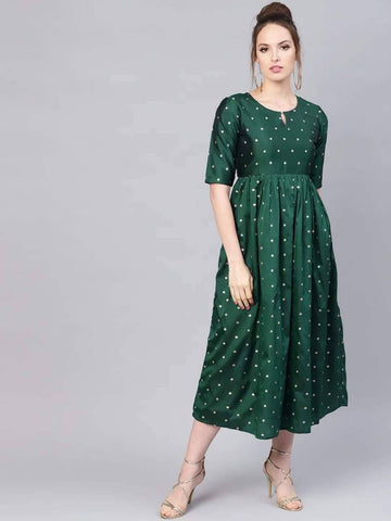 Redaymade Bottle Green Colored Kurta Dress