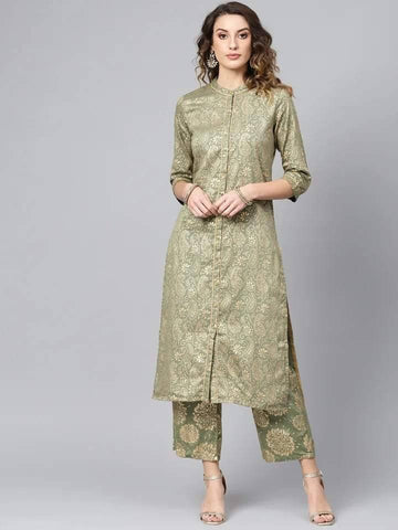 Readymade Olive Green Colored Palazzo Suit