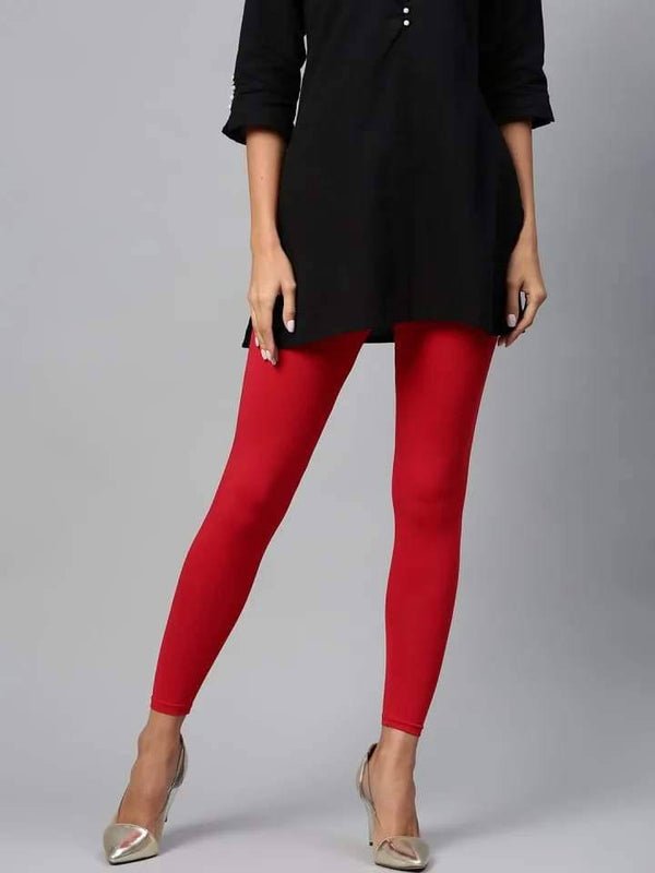Leggings - Churidar - Red - www.riafashions.com