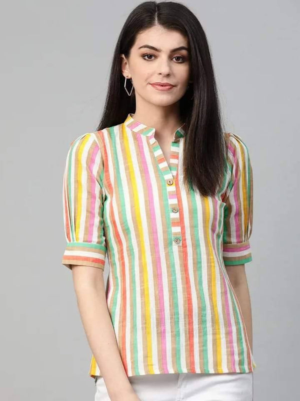 Multicoloured Striped  Shirt Style Cotton Kurti