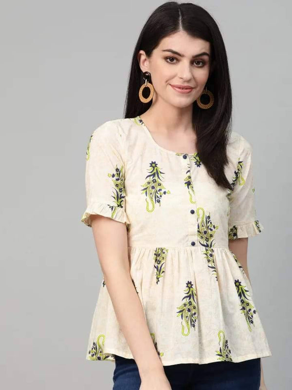 Cream & Navy Blue Printed Cotton Kurti