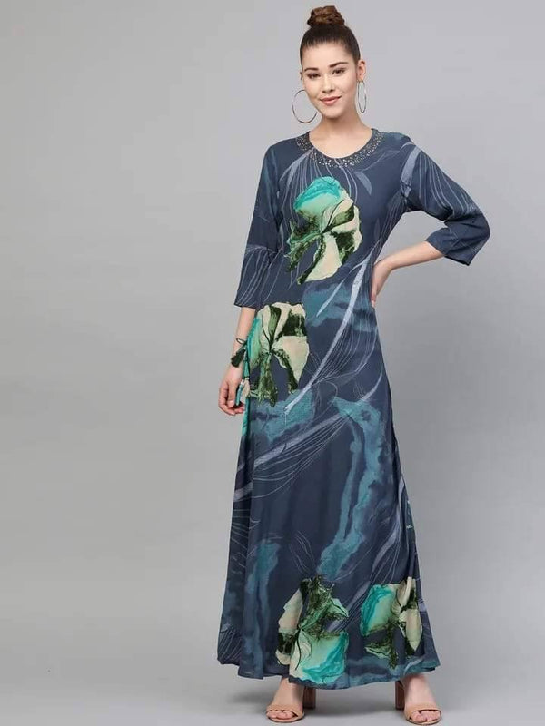 Navy Blue&Green Printed Maxi Dress