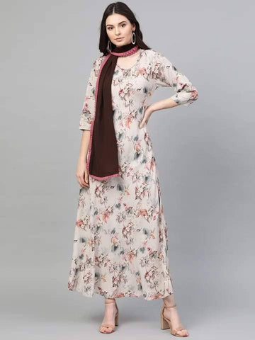 Pink Printed A-Line Maxi Dress With Stole