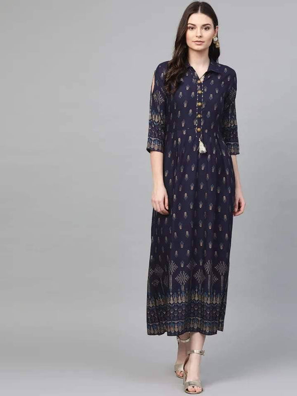 ReadyMade Navy Blue & Gold Printed A-Line Maxi Dress