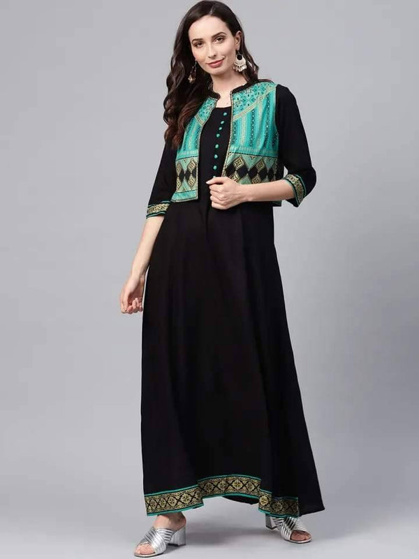 Black Solid Maxi Dress With Ethnic Jacket