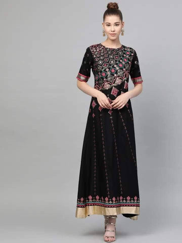 Black&Pink Printed A-Line Cotton Maxi Dress