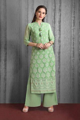 Green Embroidered Georgette  Party Wear Kurta