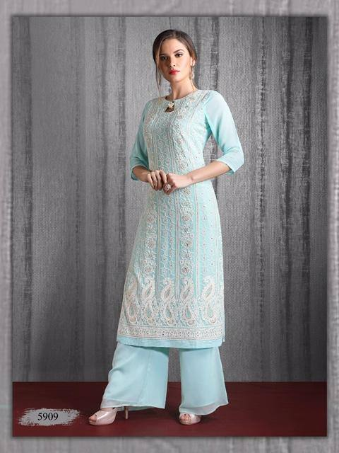 Blue Embroidered Georgette Party Wear Kurta