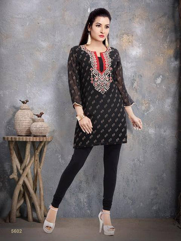 Black Georgette Embroidered Kurti