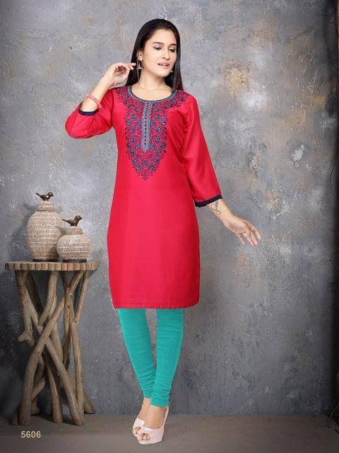 Red Embroidered Cotton Silk Kurti