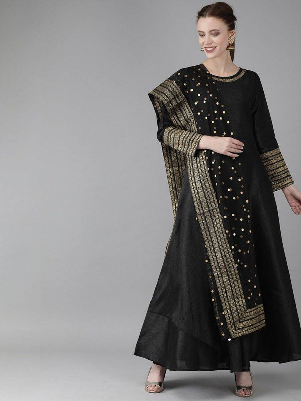 Ready Made Black Raw Silk Kurta With Net Dupatta