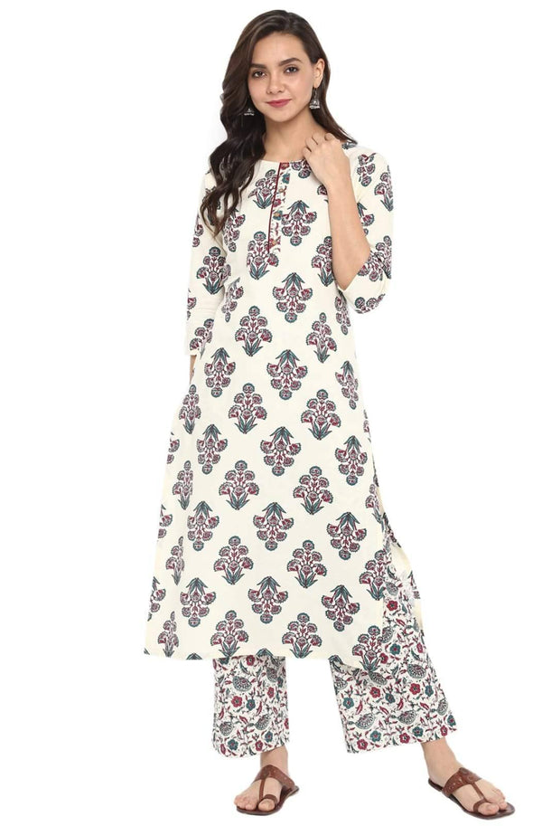 Readymade Off White Kurta Palazzo Set
