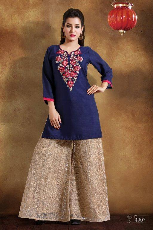 Ready Made Party Wear Navy Blue Georgette Embroidered Kurti