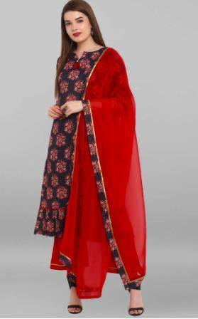 Readymade Black & Red Printed Kurta Palazzo Set With Dupatta