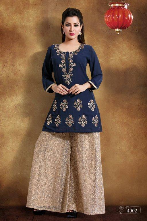 Ready Made Party Wear Navy Blue Georgette Zari Work Kurti