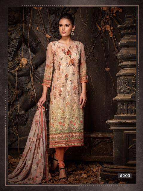 Beige & Peach Heavy Embroidered Party Wear 3 Piece Kurta Set - www.riafashions.com