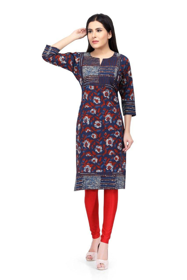 Ready Made Navy Blue Cotton Kurti