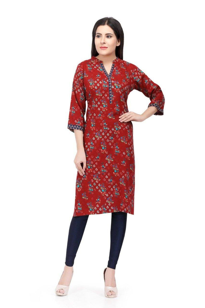 Readymade Red Cotton Kurti - www.riafashions.com
