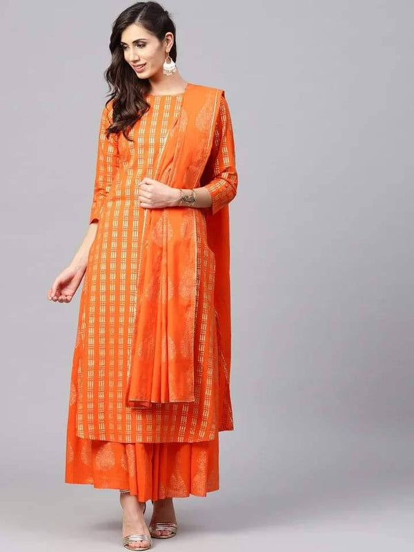Readymade Orange Golden Foil Print Kurta,Skirt Set With Dupatta