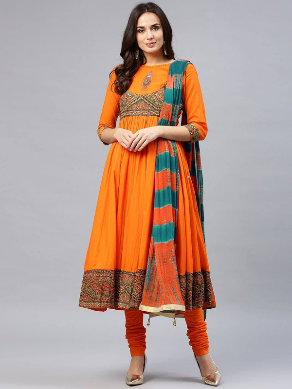 Orange Yoke Design  Make To Order Kurta With Churidar And Dupatta