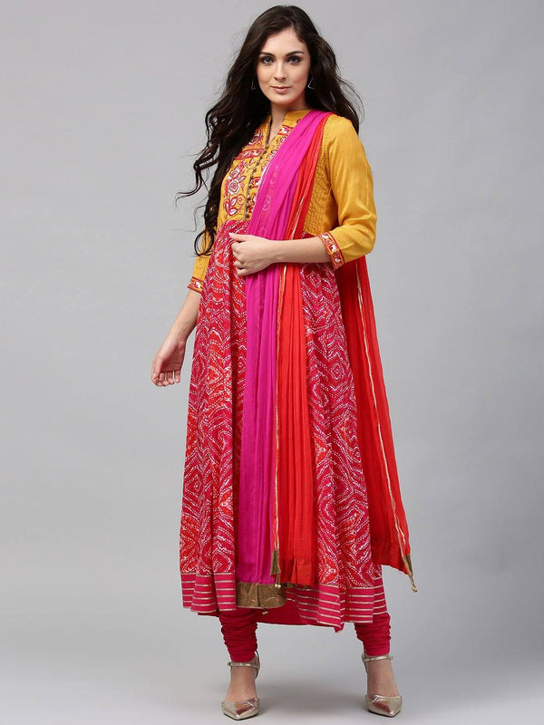 Mustard Yellow & Pink Printed Make To Order Kurta With Churidar And Dupatta