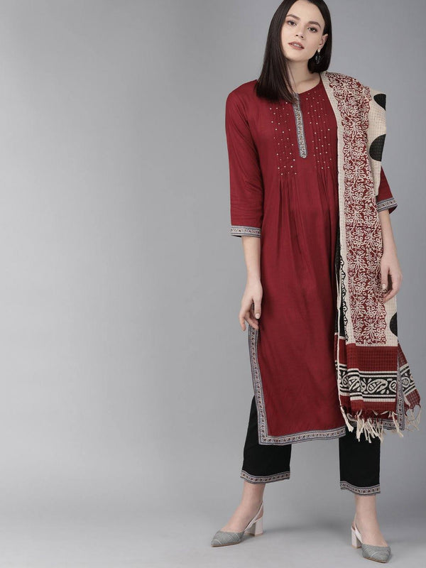 Maroon & Black Printed Make To Order Solid Kurta With Trousers And Dupatta