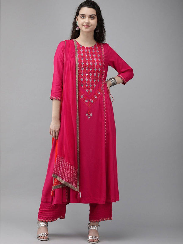 Fuchsia Embroidered Make To Order Kurta With Palazzo And Dupatta
