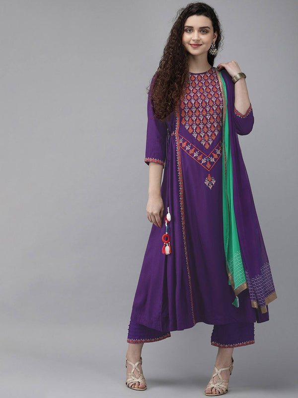Purple Embroidered Make To Order Kurta With Palazzo And Dupatta