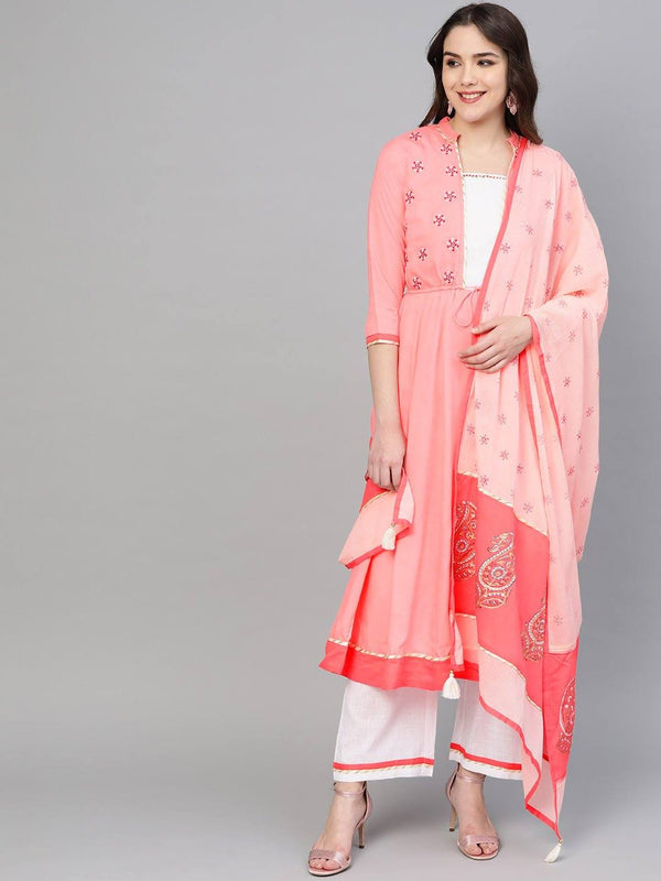 Peach & White Yoke Design Make To Order Solid Kurta Set With Palazzo and Dupatta