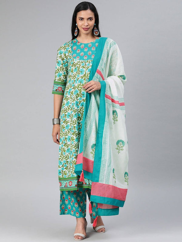 Turquoise Blue & Green Printed Make To Order Kurta Set With Palazzo and Dupatta
