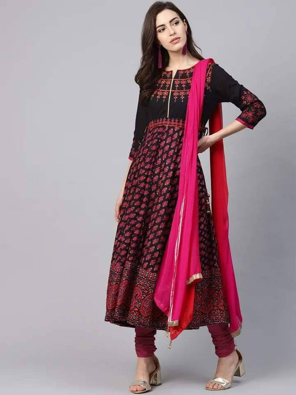 Black and Pink Anarkali Make To Order Kurta With Churidhar And Dupatta