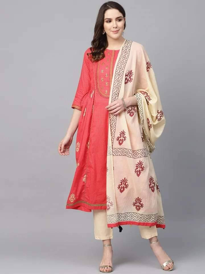 Coral and Cream Printed Make To Order Solid Kurta With Trousers And Dupatta